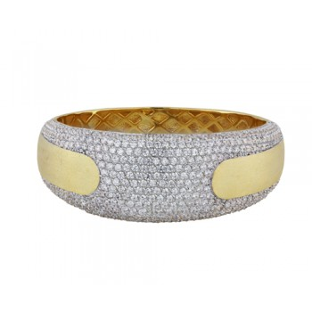BRASS BANGLE WITH PAVE CLEAR CUBIC ZIRCONIA  @ CENTER WITH BRUSH T GD