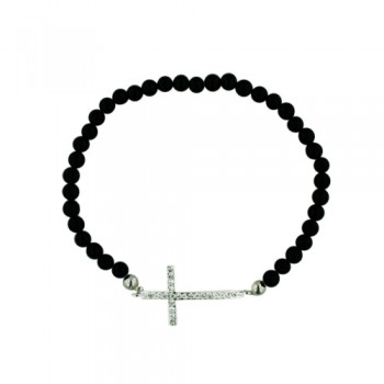 BRASS BRACELET GD CROSS WITH CLEAR CY ONYX BEAD
