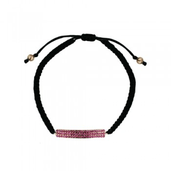 BRASS BRACELET STRIP OF PINK CY WITH BRAIDED CORD