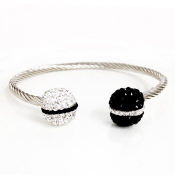 Brass Brlt Twisted Cuff With Blk+Clr Crystal, Multicolor