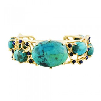 Bronze Cuff Turquoise Stone W/Lapis