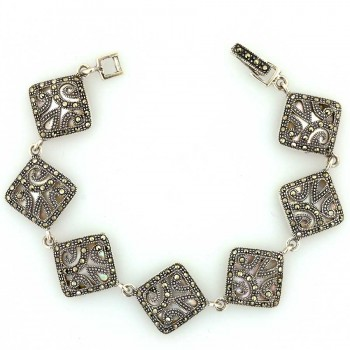 Marcasite Bracelet 7Pcs Open Filigree Flower Pieces+White Mother of Pearl B
