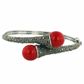 Marcasite Bngl 12mm Oppositive Rd Coral Pearl with Pave Marcasite