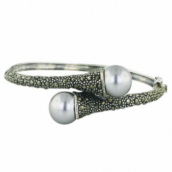 Marcasite Bngl 12mm Oppositive Gray Faux Pearl with Pave Marcasite