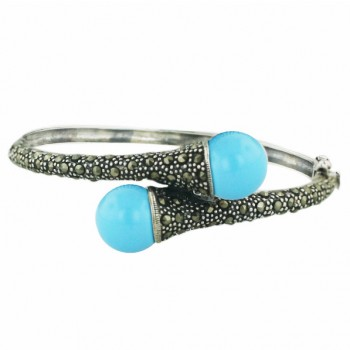 Marcasite Bngl 12mm Oppositive Faux Turquoise (with O Gold Vein) with Pave M