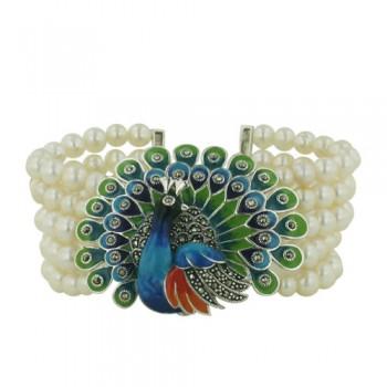 Marcasite Bracelet 5 Line Fresh Water Pearl Mutli Color Enamel Peacock