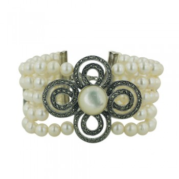 Marcasite Bracelet 5 Line Fresh Water Pearl with Marcasite Intervals and Mother of Pearl/Marcasite