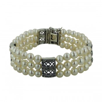 Marcasite Bracelet 3 Lines Fresh Water Pearl with Filigree Marcasite Intervals