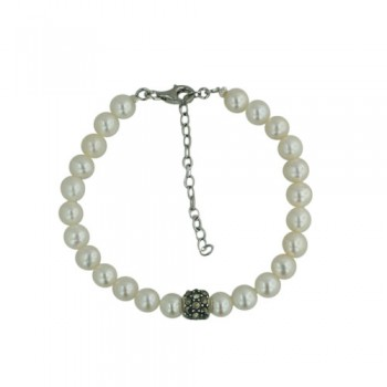 Marcasite Bracelet Marcastie Slider 8.5 mm with Fresh Water Pearl 6-7 mm