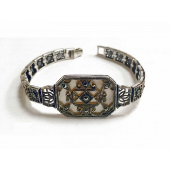 Marcasite Bracelet Filigree Over Rectangular Mother Of Pearl Filigree