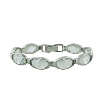 Sterling Silver Bracelet 8Pcs Chess Cut Clear Cubic Zirconia Links