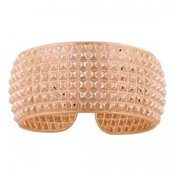 Sterling Silver Bracelet Rosegold Plate Pyramid Cut Wide Bangle