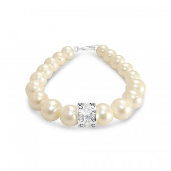 Sterling Silver 18*10Mm Fresh Water Pearls Bracelet+ Clear Cubic Zirconia