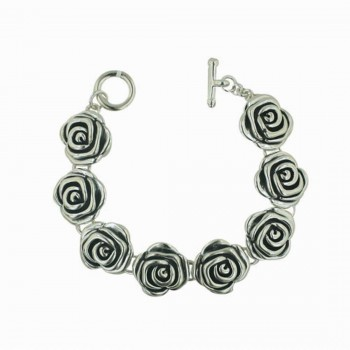 Sterling Silver Bracelet 8 Roses with Toggle & Bar