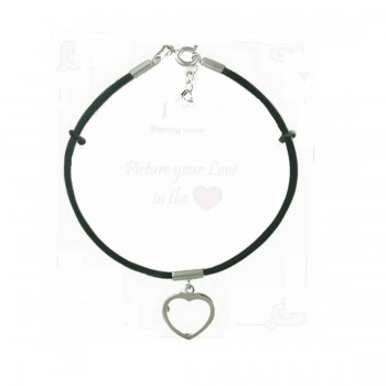 "Sterling Silver Bracelet 7.5"" Black Leather Cord with Heart Frame Char"