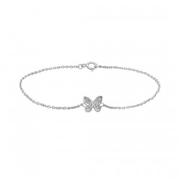 """Sterling Silver Bracelet Small Butterfly Clear Cubic Zirconia Paved 7.5"""" Long"""