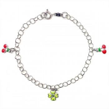 SS Kids Brlt Enamel Green Flwr+Red Cherry Dangling, Multicolor