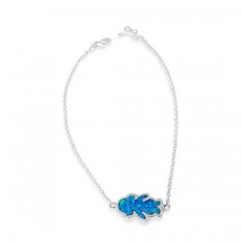Sterling Silver Bracelet Girl Charm Synethetic Blue Opal