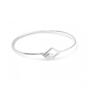 Sterling Silver Bangle Plain Diamond Line With Hook-Ecoat