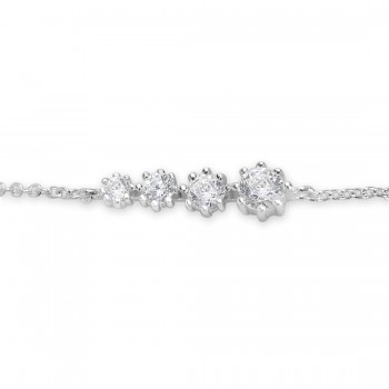 Sterling Silver Bracelet Riviere 4 Clear Cubic Zirconia With Chain