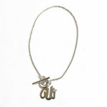 Sterling Silver Bracelet Initial U With One Pc Of Cubic Zirconia Charm