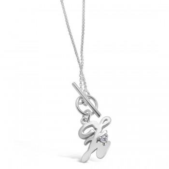 Sterling Silver Bracelet Initial Script Y + 1 Pc Cubic Zirconia Charm