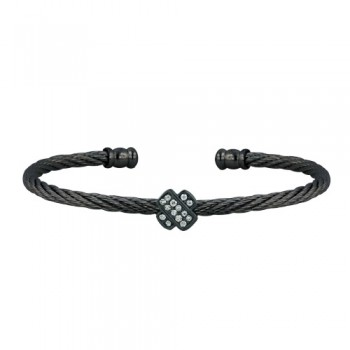 "Stainless Steel Bangle ""X"" Paved W/ Small Cl Cz"