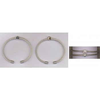 S Steel Round Heart Single Crystal Duo Set
