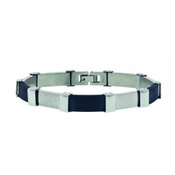 Stainless Steel Bracelet 3Pcs Blk Rubber, Black