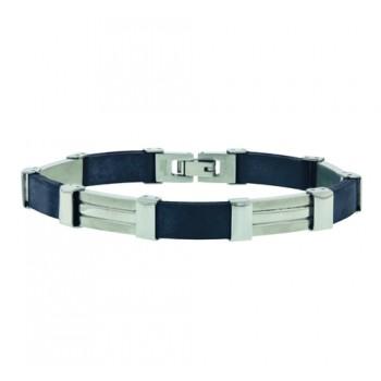 Stainless Steel Bracelet Blk Rubber+Steel Pcs, Black