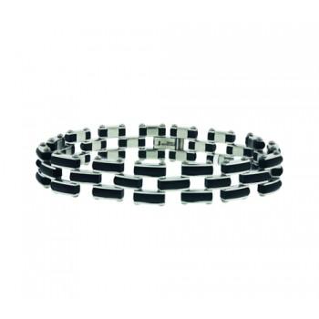 Stainless Steel Bracelet Rubber W/Steel Side