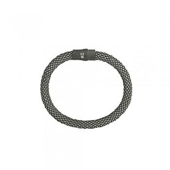 Sterling Silver Bracelet 6.2mm Diameter Tube with Magnetic Lock-Black P