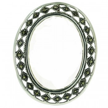 Marcasite Pin+Pendant Oval Frame Only