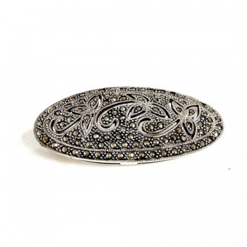 Marcasite Pin Oval 3 Flower Filigree