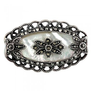 Marcasite Pin Mother of Pearl Victorian