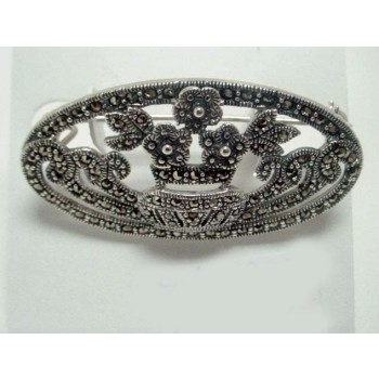 Marcasite Pin Open Oval Flower Pot