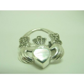 Marcasite Pin Hand Hold White Mother of Pearl Heart