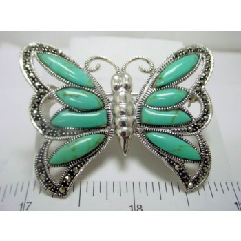 Marcasite Pin Turquoise Butterfly