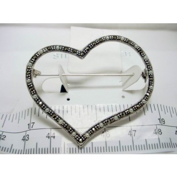 Marcasite Pin Small White Faux Pearl Open Heart