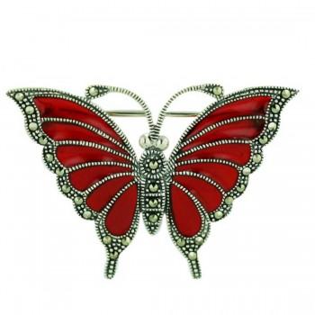 Marcasite Pin Rd Enamel Butterfly