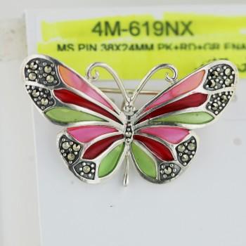 Marcasite Pin 38X24mm Pink+Rd+Green Enamel Butterfly