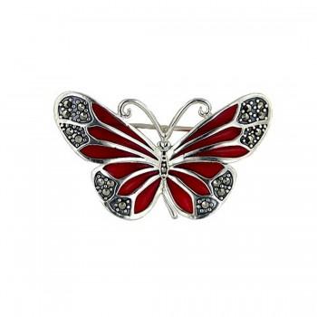 Marcasite Pin 38X24mm Rd Enamel Butterfly