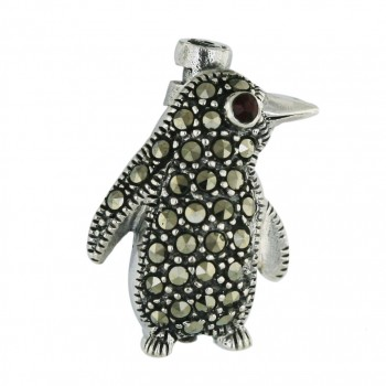 Marcasite Pin Penguin with Garnet Cubic Zirconia Eye