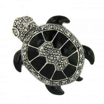 Marcasite Pin Black Enamel Turtle
