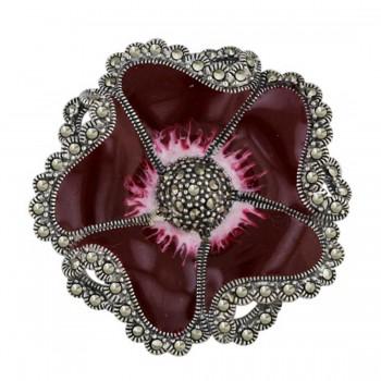 Marcasite Pin Red (White) Enamel+Marcasite Flower