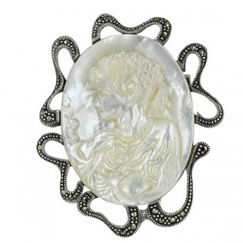 Marcasite Pin 28-38mm Oval Mother of Pearl Lady Cameo with Marcasite Rib