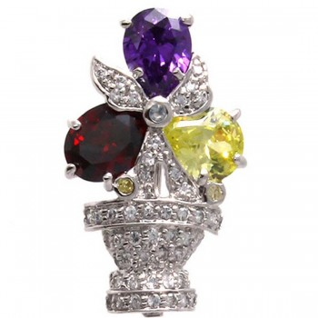 Sterling Silver Pin 3 Garnet +Ame+Light Peridot+Citrine Cubic Zirconia+Aqua Glass+Clear Cubic Zirconia Flower