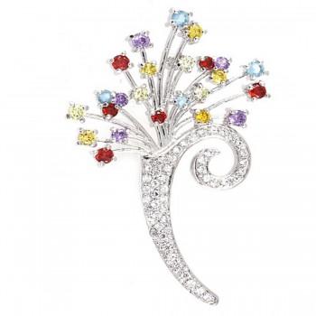 Sterling Silver Pin Ame+Garnet +Light Peridot+Citrine Cubic Zirconia+Aqua Marine Glass+Clear Cubic Zirconia Flower Bou