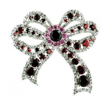 Sterling Silver Pin Garnet +Pink Cubic Zirconia+Clear Cubic Zirconia Bow