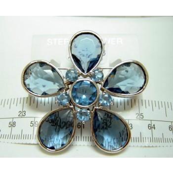 Sterling Silver Pin 5 Aqua Marine Glass Tear Drop Big Flower